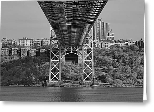 S-hooks Greeting Cards - Under The George Washington Bridge III BW Greeting Card by Susan Candelario
