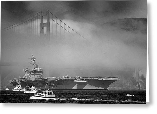 Naval Aircraft Greeting Cards - Under the Golden Gate Bridge Greeting Card by Mountain Dreams