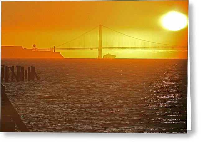 San Francisco Bay Pyrography Greeting Cards - Under the Golden Gate Greeting Card by DUG Harpster