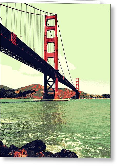 Famous Bridge Greeting Cards - Under the Golden Gate Greeting Card by Michelle Calkins