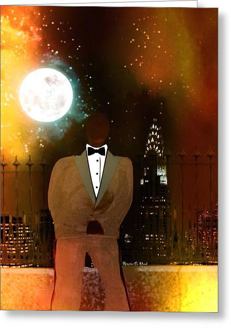 Romaine Digital Art Greeting Cards - Under The Harvest Moon Greeting Card by Romaine Head