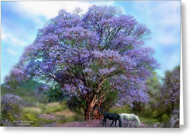 Horses In Print Greeting Cards - Under The Jacaranda Greeting Card by Carol Cavalaris