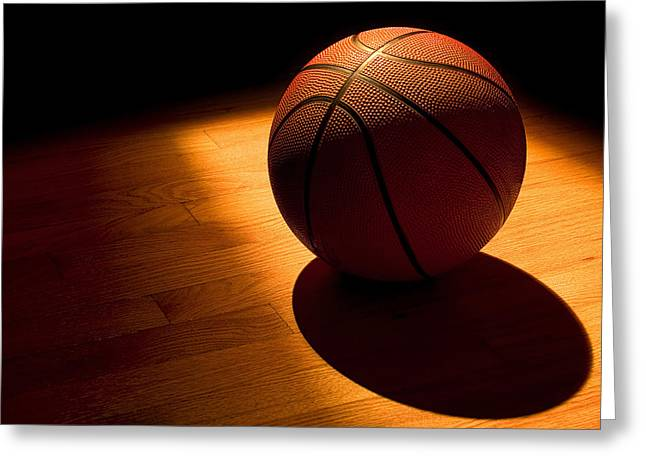 Basketballs Greeting Cards - Under the Lights Greeting Card by Andrew Soundarajan