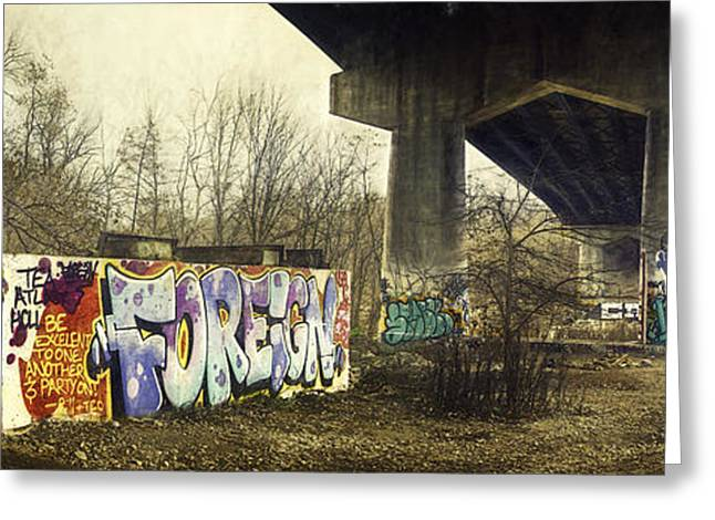 Graffiti Photographs Greeting Cards - Under the Locust Street Bridge Greeting Card by Scott Norris