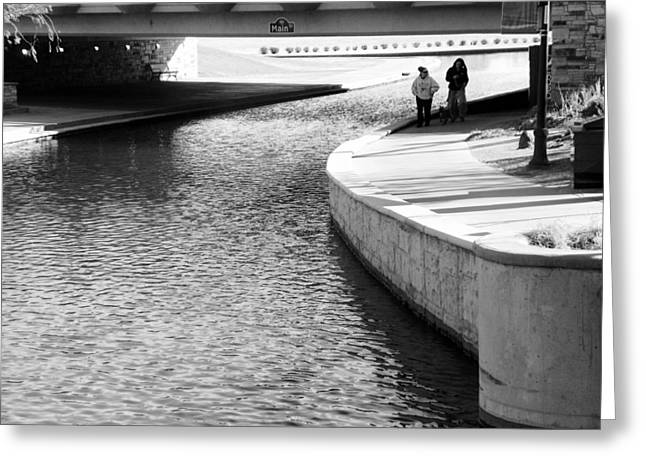 Dog Walking Greeting Cards - Under the Main Street Bridge Greeting Card by Lenore Senior