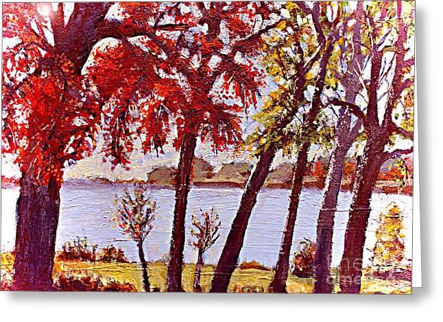 Under The Maple Along The Charles River Greeting Card by Rita Brown