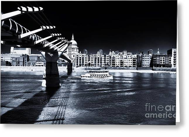 Lack And White Greeting Cards - Under the Millennium Bridge Greeting Card by John Rizzuto