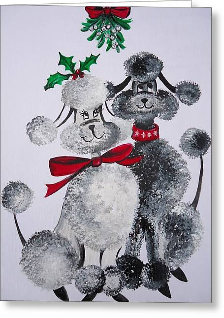 Pet Angels Greeting Cards - Under the Mistletoe Greeting Card by Leslie Manley
