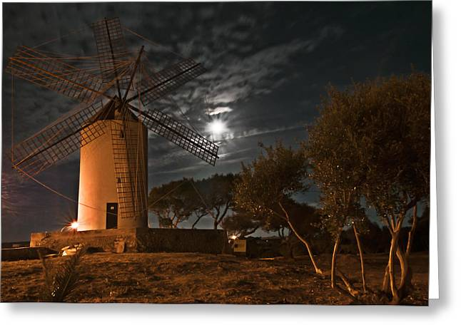 Generators Greeting Cards - Vintage Windmill in Es Castell Villacarlos George Town in Minorca -  Under the moonlight Greeting Card by Pedro Cardona
