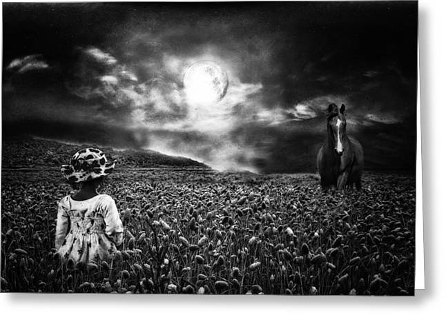 Phantasie Greeting Cards - Under the moonlight Greeting Card by Sabine Peters