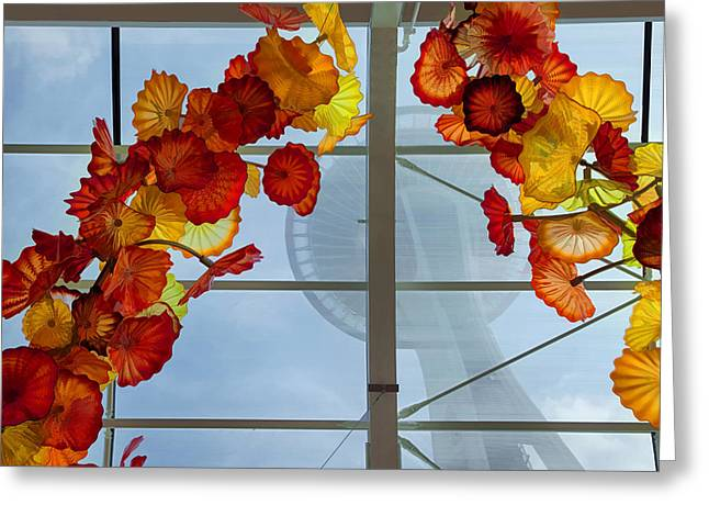 Chihuly Glass Greeting Cards - Under the Needle Greeting Card by Peggy Kahan