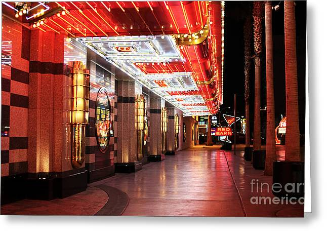 Freemont Street Greeting Cards - Under the Neon Lights Greeting Card by John Rizzuto