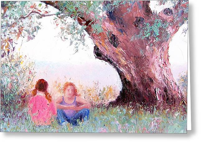 Gossiping Greeting Cards - Under the old gum Greeting Card by Jan Matson