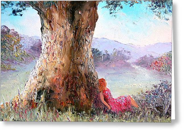 Autumn Landscape Paintings Greeting Cards - Under the Old Gum Tree Greeting Card by Jan Matson