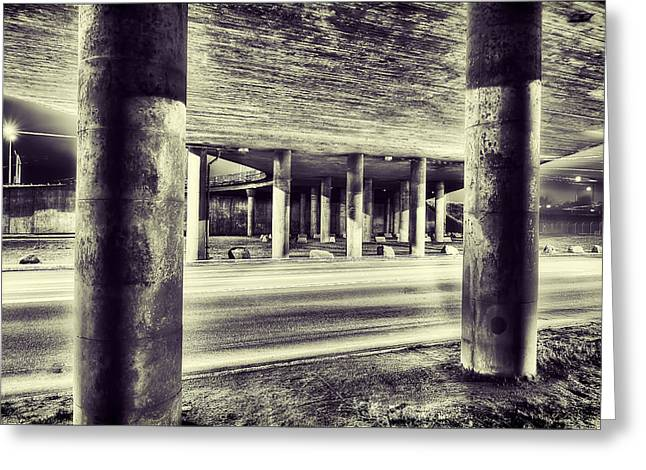 Road Greeting Cards - Under the Overpass Greeting Card by EXparte SE