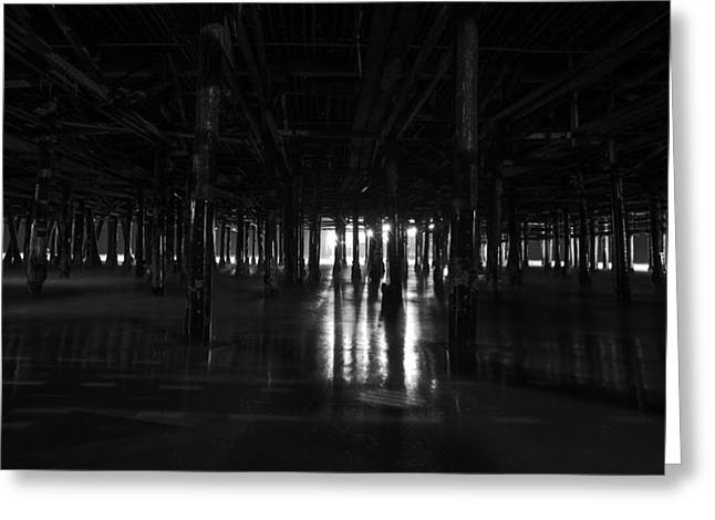 Beach At Night Greeting Cards - Under the Pier Greeting Card by Art K
