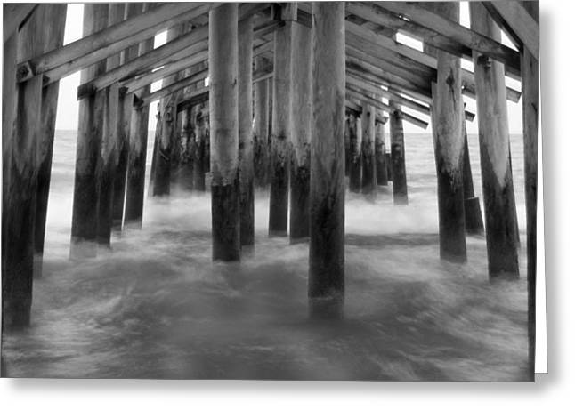 Pier Digital Greeting Cards - Under the Pier at Kure Beach Greeting Card by Mike McGlothlen