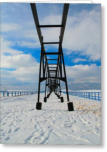 Saint Joseph Greeting Cards - Under The Pier At Saint Joseph Michigan In Winter Greeting Card by Dan Sproul