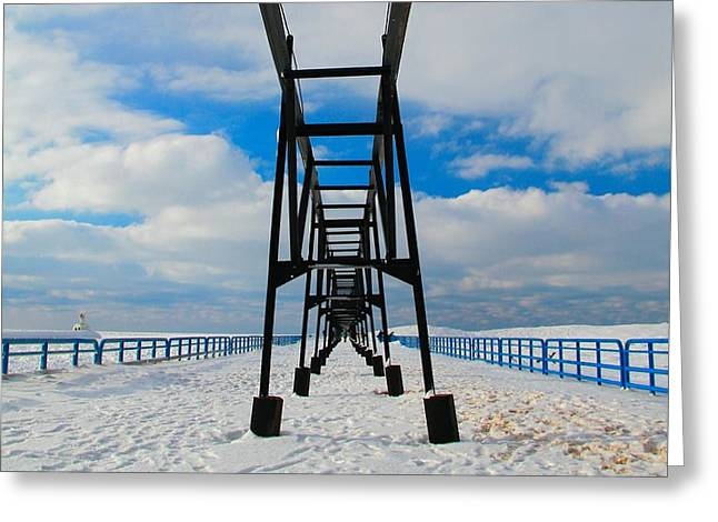 Under The Pier At Saint Joseph Michigan In Winter Greeting Card by Dan Sproul