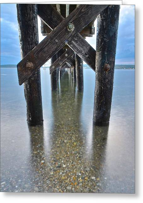 Steilacoom Greeting Cards - Under the Pier at Sunset Greeting Card by Rachel Cash