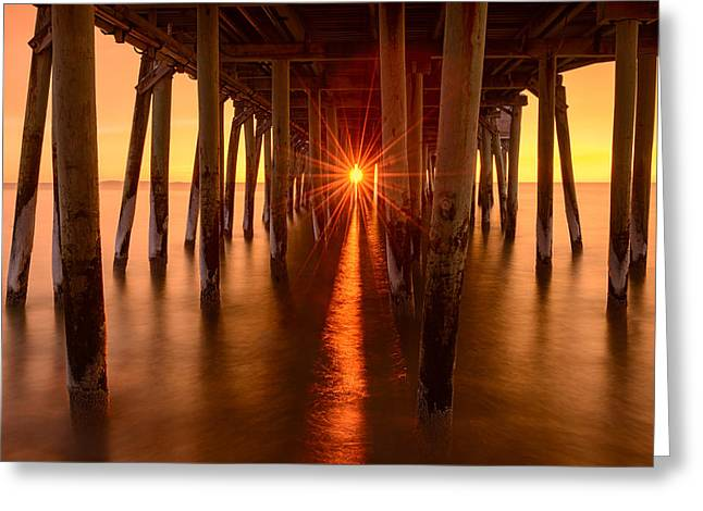 Maine Beach Greeting Cards - Under the Pier Greeting Card by Michael Blanchette