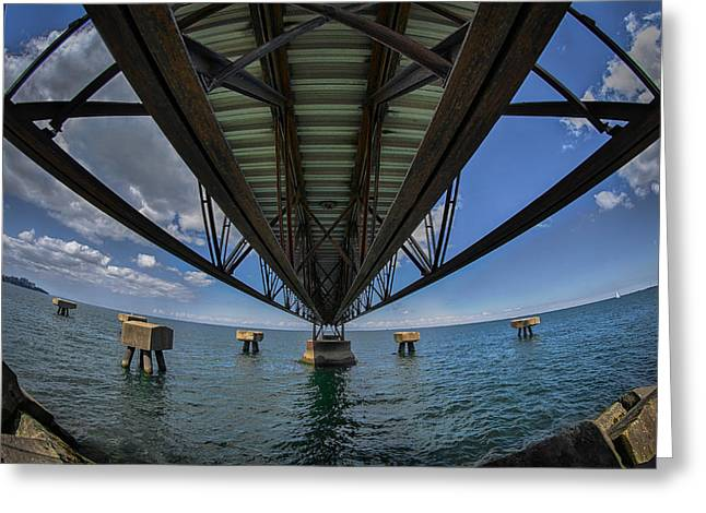 Bluesky Greeting Cards - Under the Pier  Greeting Card by Michael Demagall