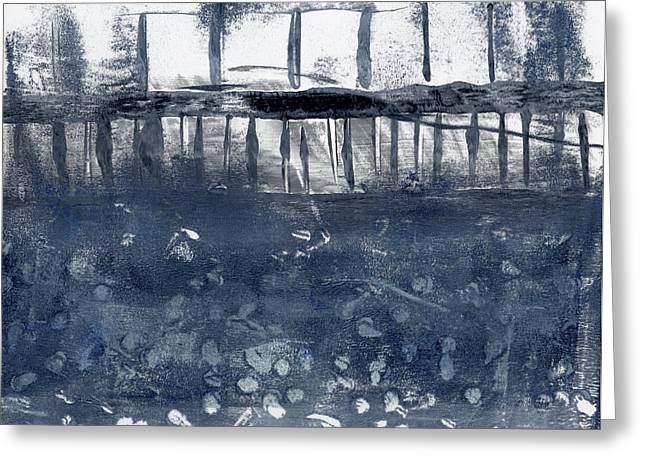 Pier Prints Greeting Cards - Under the Pier Monoprint Greeting Card by Carol Leigh