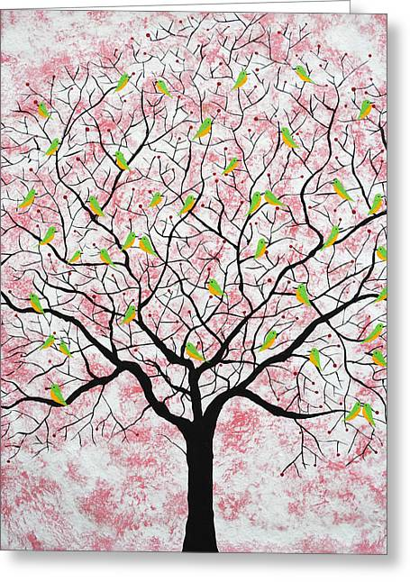 Tree Roots Paintings Greeting Cards - Under the pink sky Greeting Card by Sumit Mehndiratta