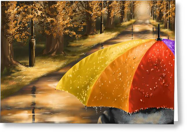 Umbrellas Greeting Cards - Under the rain Greeting Card by Veronica Minozzi