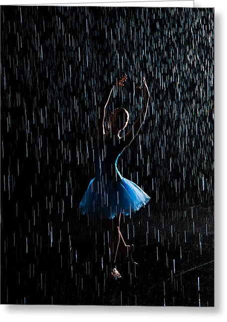 Dancer Art Greeting Cards - Under the rain Greeting Card by Zina Zinchik