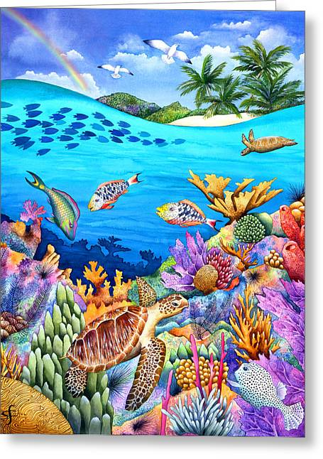 Tropical Wildlife Greeting Cards - Under The Rainbow Greeting Card by Carolyn Steele