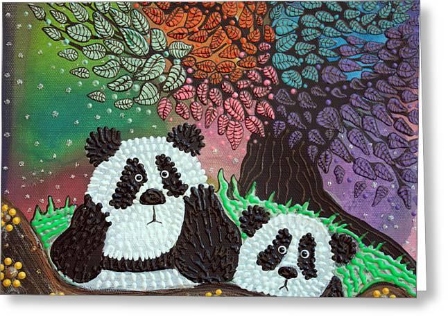 Panda Bear Greeting Cards - Under The Rainbow Tree Greeting Card by Laura Barbosa