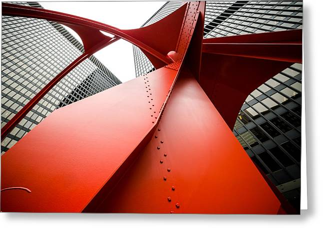Under The Red Flamingo Greeting Card by Anthony Doudt
