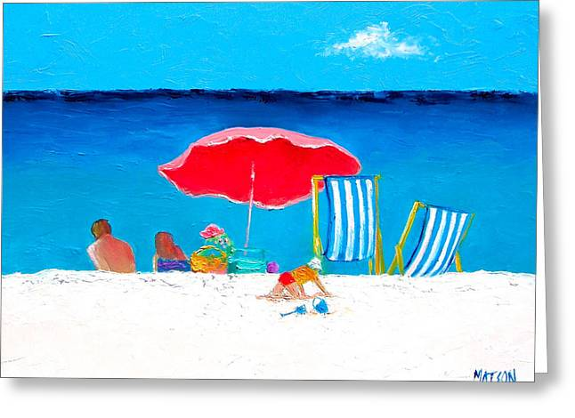 Beach Cottage Style Greeting Cards - Under the Red Umbrella Greeting Card by Jan Matson