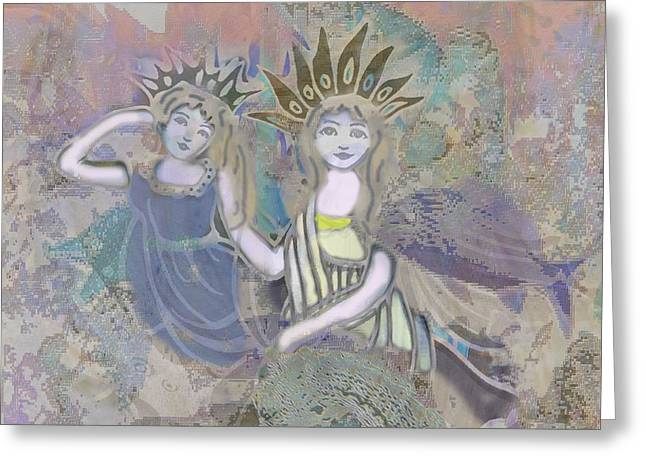 Angel Mermaids Ocean Mixed Media Greeting Cards - Under the Sea Greeting Card by Amelia Carrie