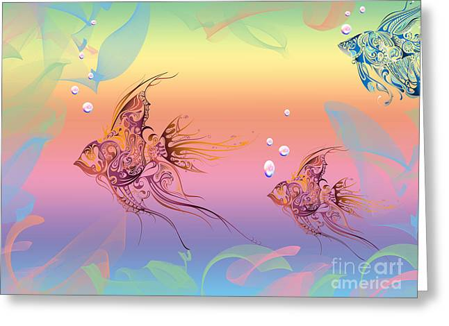 Under The Sea Greeting Cards - Under The Sea Angel Fish Greeting Card by Cheryl Young