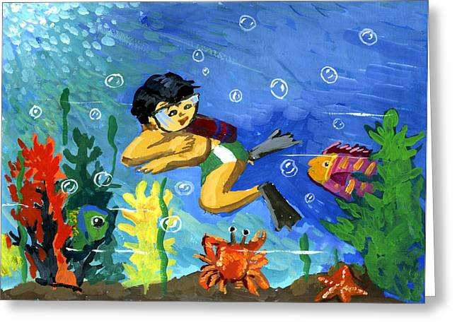 Snorkel Greeting Cards - Under the Sea by Jessica Lee Kindergarten Greeting Card by California Coastal Commission