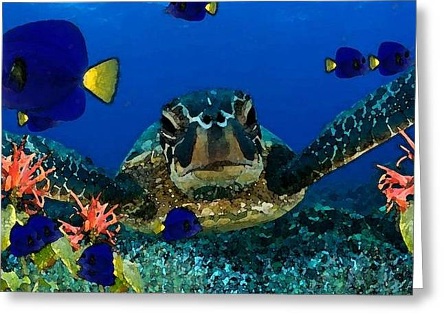 Reef Fish Drawings Greeting Cards - Under the Sea Greeting Card by Cole Black