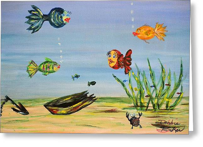 Anchor Underwater Greeting Cards - Under the Sea Greeting Card by Debbie Baker