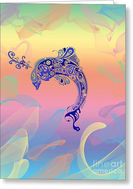 Pleasing Greeting Cards - Under The Sea Dolphin Greeting Card by Cheryl Young