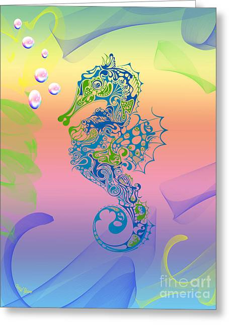 Surreal Fantasy Horse Fine Art Greeting Cards - Under The Sea Horse Greeting Card by Cheryl Young