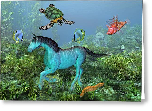 Blue Green Water Digital Greeting Cards - Under the Sea II Greeting Card by Betsy C  Knapp