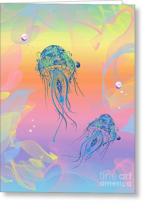 Fantasy Creatures Greeting Cards - Under The Sea Jelly Fish Greeting Card by Cheryl Young