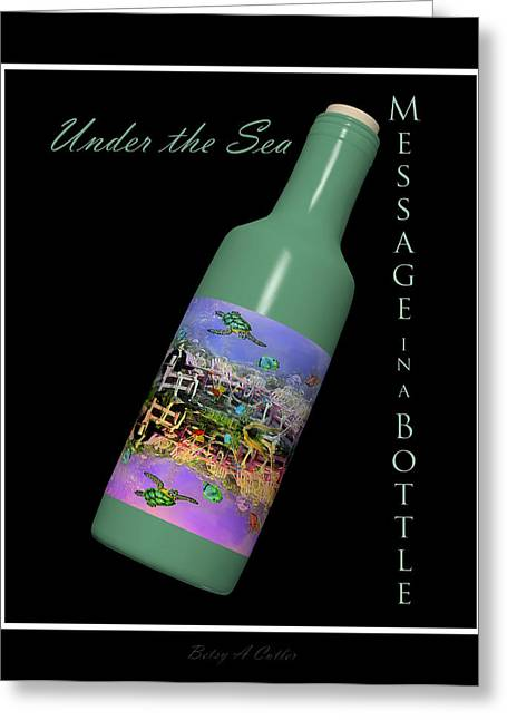 Under The Sea Greeting Cards - Under the Sea Message in a Bottle Greeting Card by Betsy C  Knapp