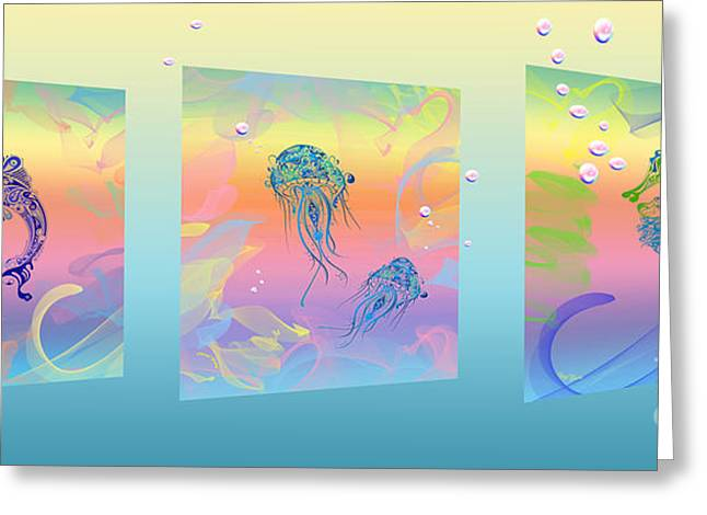 Fantasy Creatures Greeting Cards - Under The Sea Triptych Greeting Card by Cheryl Young
