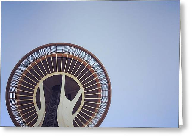 Urban Space Greeting Cards - Under the Seattle Space Needle Greeting Card by Nate Mueller