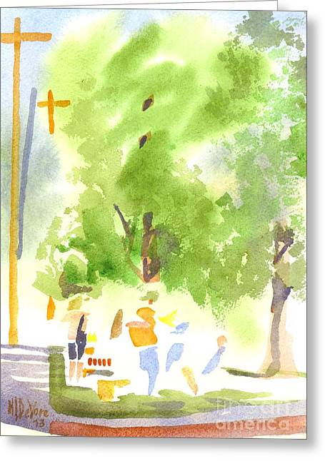 Fresh Produce Greeting Cards - Under the Shade Trees Farmers Market IV Greeting Card by Kip DeVore