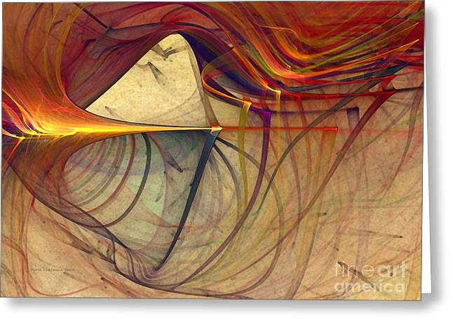 Horizontal Format Greeting Cards - Under the Skin-Abstract Art Greeting Card by Karin Kuhlmann