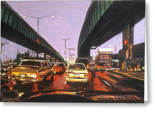 Film Noir Paintings Greeting Cards - Under the Skyway on Stony Island Greeting Card by Christopher Buoscio