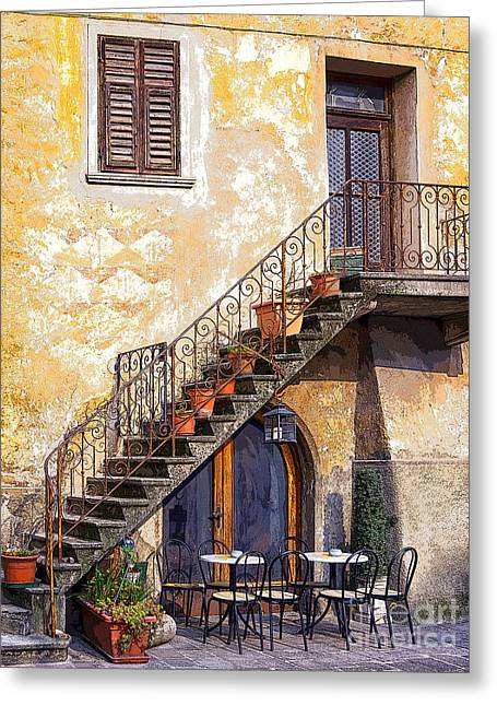 Table And Chairs Digital Greeting Cards - Under the Stairs Greeting Card by Maureen Tillman